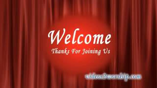 Red Curtain Welcome Background